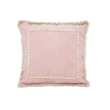 Ira Cushion with Shell Border - Pink 55 x 55cm
