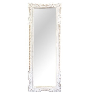 Issa Wood Carved Mirror - White Distress - 61x175cmh