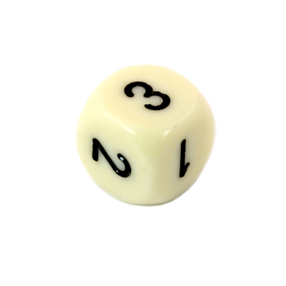 Ivory with Black d3 1-2-3 twice Six Sided Dice New Zealand Games and Hobbies NZ