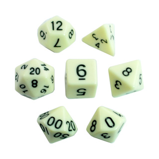 7 Ivory with Black Standard Dice