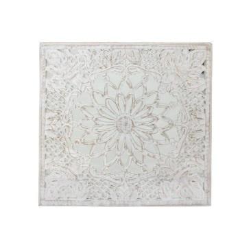 Jamila Carved Wall Panel W Mirror - White Wash - 90x90cm