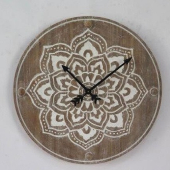 Jaya Carved Wood Clock 60cm