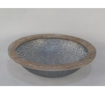 Jayna Metal Bowl With Wooden Detail 43cmd