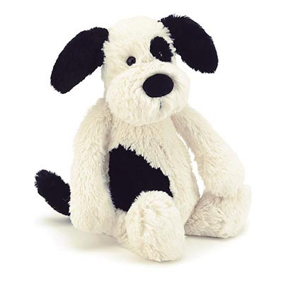 Jellycat Bashful Black & Cream Puppy M