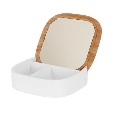 Jewelry  Box w Wooden Lid & Mirror - White