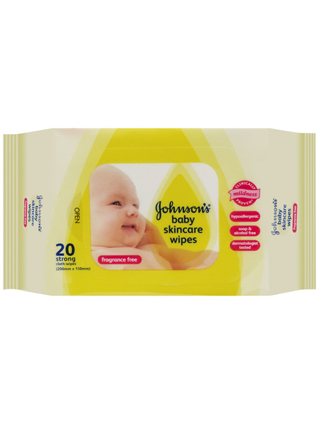 Johnson's Baby Skincare Wipes Fragrance Free 20 Pack