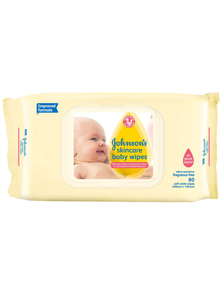 Johnson's Baby Skincare Wipes Ultra Sensitive Fragrance Free 80
