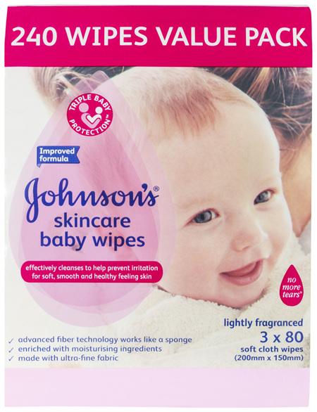 Johnson's Skincare Baby Wipes Lightly Fragranced 3 x 80 Pack