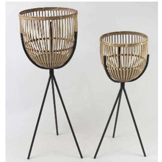 Judd Bamboo & Metal Planter - Natural