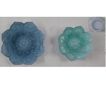 Kala Pressed Metal Flower Bowl/Wall Art - Turquoise