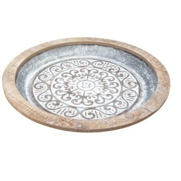 Kali Pressed Metal Platter - White Wash W Wood Edge