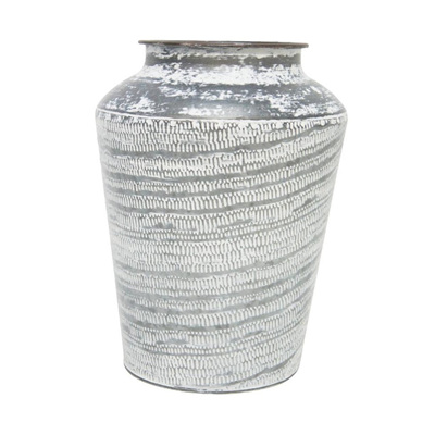 Karna Pressed Metal Vase - White Wash - 27cmh