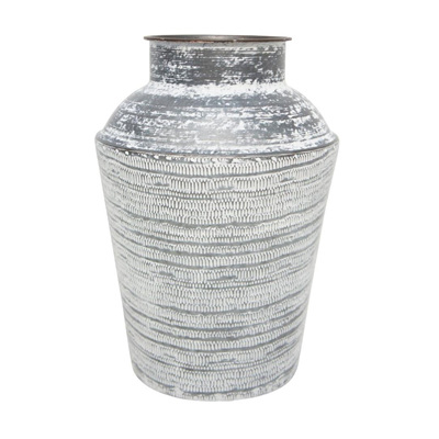 Karna Pressed Metal Vase - White Wash - 40cmh
