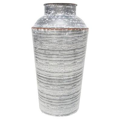 Karna Pressed Metal Vase - White Wash - 51cmh