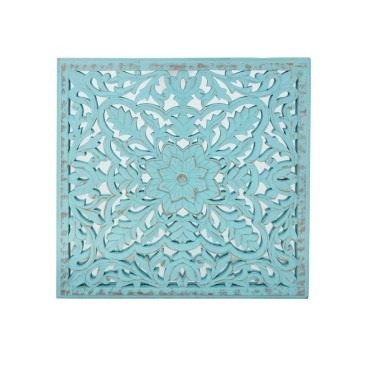 Kellan Carved Wall Panel W Mirror - Turquoise Distress - 60x60cm
