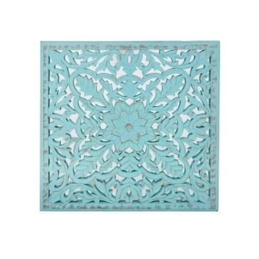 Kellan Carved Wall Panel W Mirror - Turquoise Distress - 60x60cm