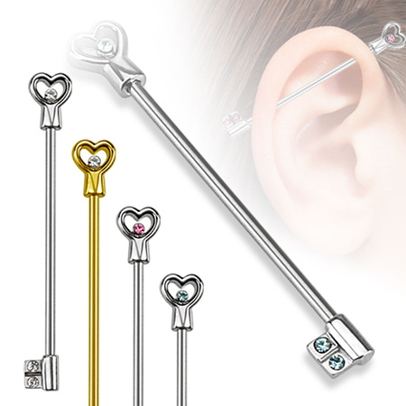 Key Industrial Barbell w/ Gem