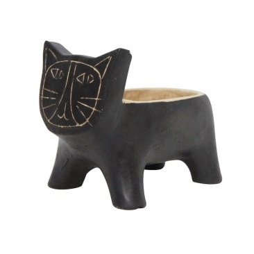 Kitty Kat Planter - Black - 14.5cmh