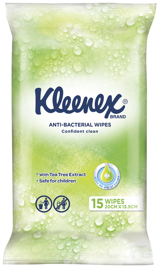 Kleenex Anti-bacterial Wipes, 15 Wipes