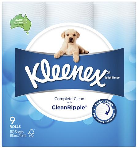 Kleenex Complete Clean Toilet Tissue 9 Pack