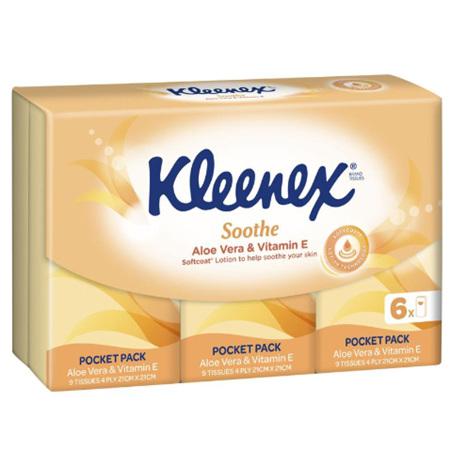 KLEENEX Pocket Packs Aloe Vera 6pk