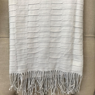Knit Tassel Trim Throw - Grey