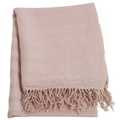 Knit Tassel Trim Throw - Pink