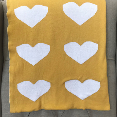 Knitted Cot Blanket - Mustard Hearts