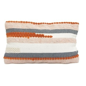 Knitted Cushion - Burnt Orange/Grey