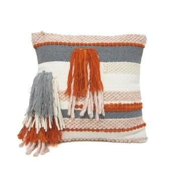 Knitted Cushion Burnt Orange/Grey 45x45cm