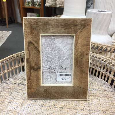 Kofi Wood & Bone Inlay Photo Frame 4x6