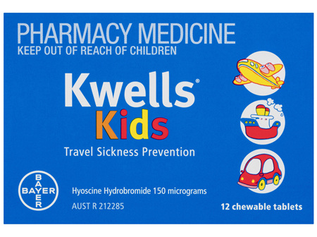Kwells Kids Travel Sickness 12 Chewable Tablets