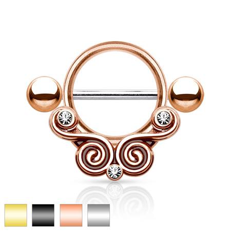 Lace Swirls w/ Clear Gems Nipple Shield