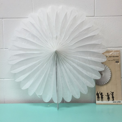 Large Fan Paper Joy White