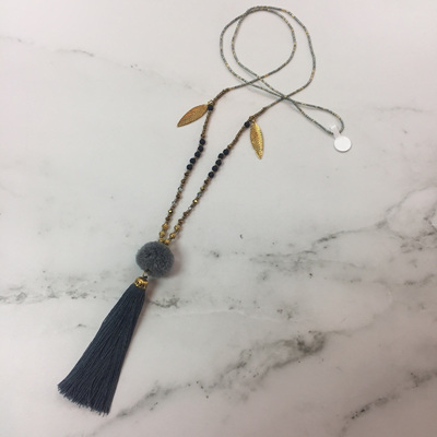 Lava Pom Pom Tassel Necklace - Slate