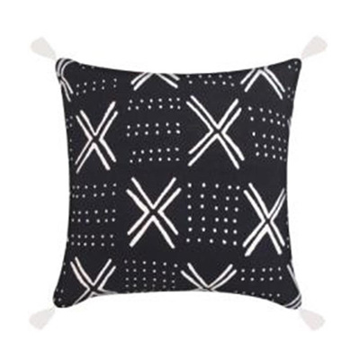 Layla Cushion W/ Tassels - Black & White - 45x45cm