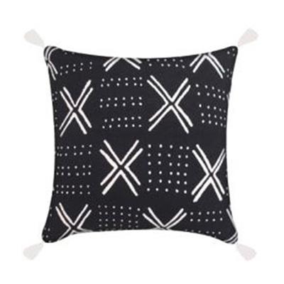 Layla Cushion W/ Tassels - Black & White - 45x45cm