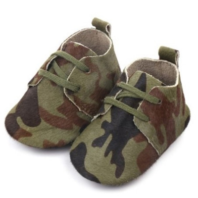Leather Lace Up Moccasins - Camouflage