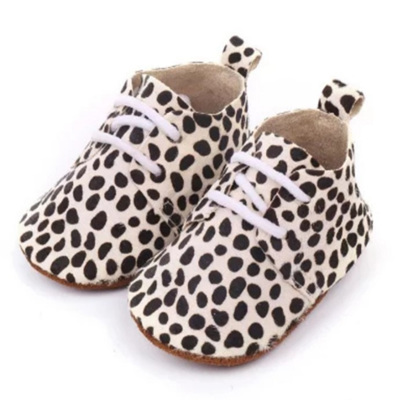 Leather Lace Up Moccasins - Dalmatian Print