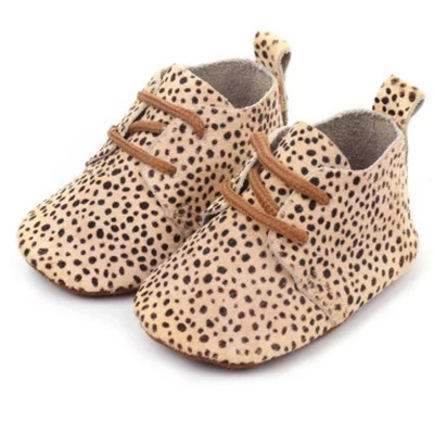 Leather Lace Up Moccasins - Leopard Print