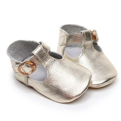 Leather Mary Jane Buckle Over Shoes - Gold