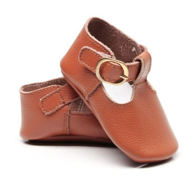 Leather Mary Jane Buckle Over Shoes - Tan