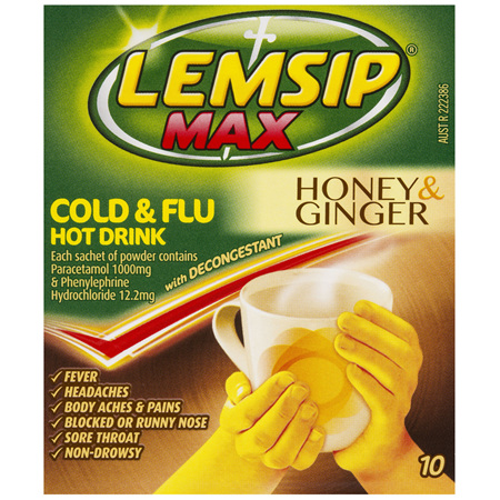 Lemsip Max Cold and Flu with Decongestant Hot Drink Honey and Ginger 10pk