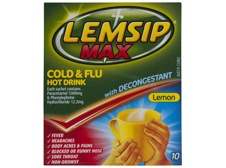 Lemsip Max Cold and Flu with Decongestant Hot Drink Lemon 10pk