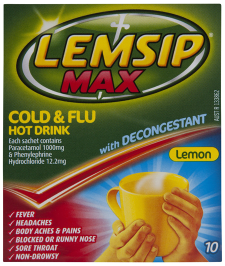 Lemsip Max Cold  Flu Hot Drink with Decongestant Lemon 10 Pack