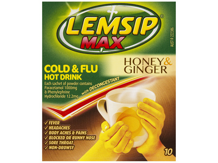 Lemsip Max Decongestant Cold and Flu Hot Drink Honey and Ginger 10 Pack