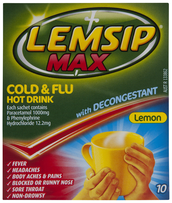 Lemsip Max Decongestant Cold & Flu Hot Drink Lemon 10 Pack