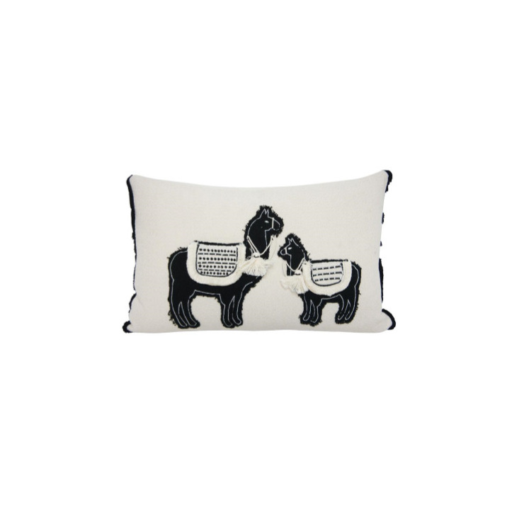 Lennox Llama Cushion - Black & White 35x55cm