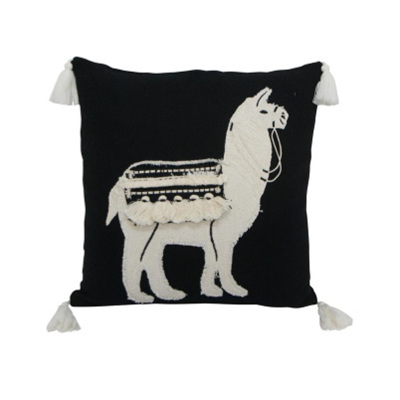 Lennox Llama Cushion - Black & White 45x45cm