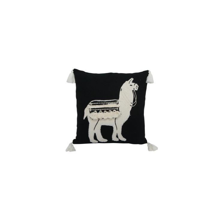 Lennox Llama Cushion - Black & White 45x45cm